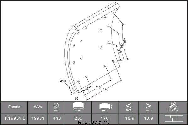 nová brzdová doštička SCANIA Nakladki galmivni 19931 D413MM,235*178*20.1MM (1REM) FERODO na nákladného auta SCANIA 93,113,143(8/88-)