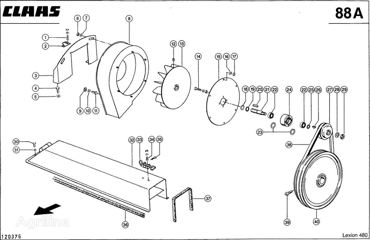 náhradné diely krylchatka pylesosa CLAAS na kombajna CLAAS Lexion 760-460