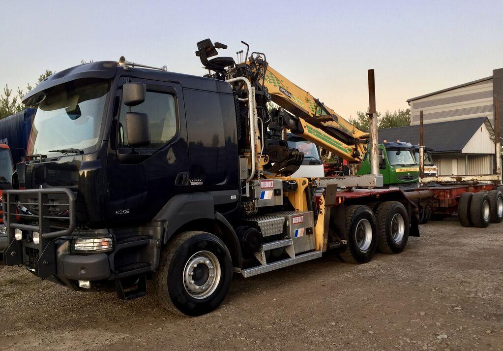 nákladné auto na prepravu dreva RENAULT Kerax DXi 520KM 6x4 na Volvie dzwig EPSILON S300L Euro5