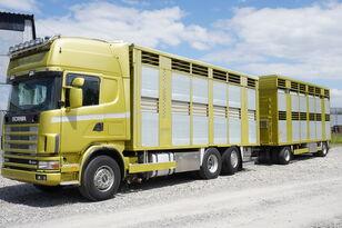 nákladné auto na prepravu zvierat SCANIA R164 V8 , 6x2 , 2 hydraulic decks , 70m2 , live stock + príves na prepravu zvierat