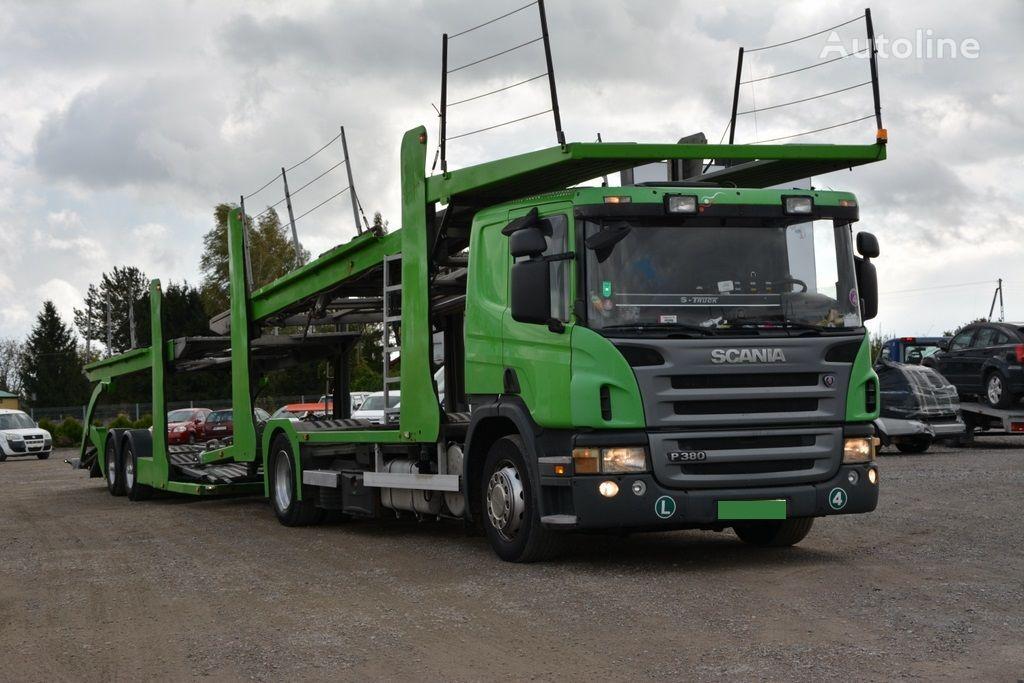 nákladné vozidlo na prepravu automobilov SCANIA P 380 + príves na prepravu automobilov