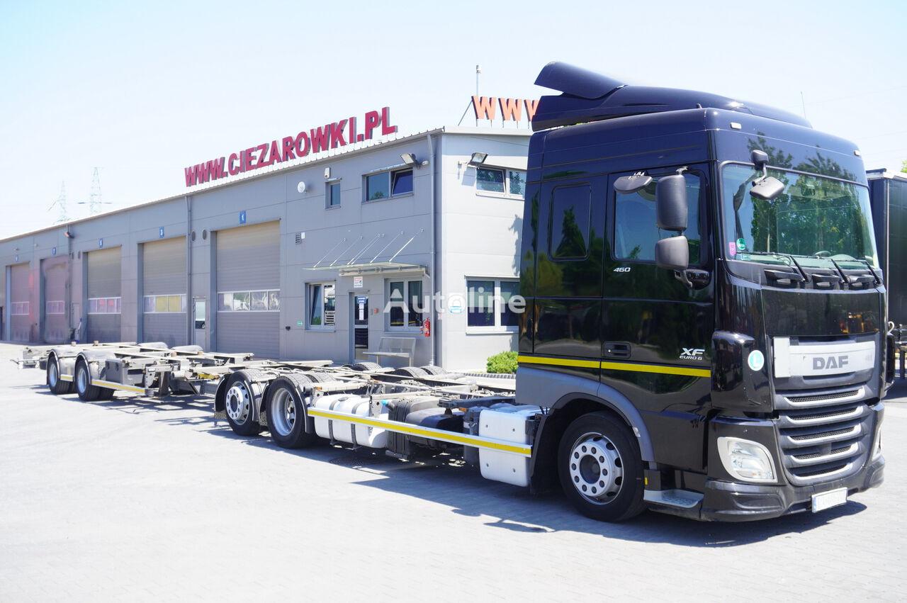 nosič kontajnerov DAF XF 460 SC , E6 , 6X2 , BDF + Wecon 2 axles trailer , BDF SET + príves podvozok