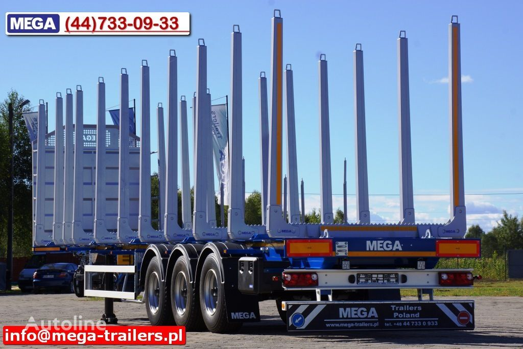 nový náves na prepravu dreva MEGA 10 U STANCHION - TIMBER SEMI-TRAILER/HOLZAUFLIEGER- READY ! BERE