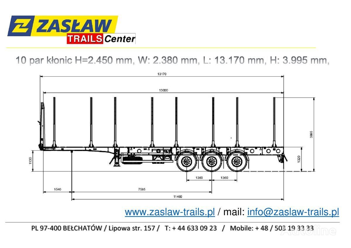 nový náves na prepravu dreva ZASLAW TRAILIS 4.600 kg / 10 par kłonic, naczepa LEŚNA LekkA zPLACU !!