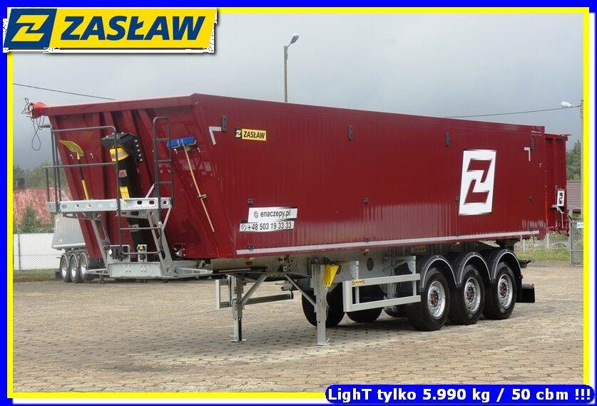 nový náves na prepravu obilia ZASŁAW 50 m³ - 6.190 kg LighT tipping semi-trailer 2 x GRAIN HOLE READY