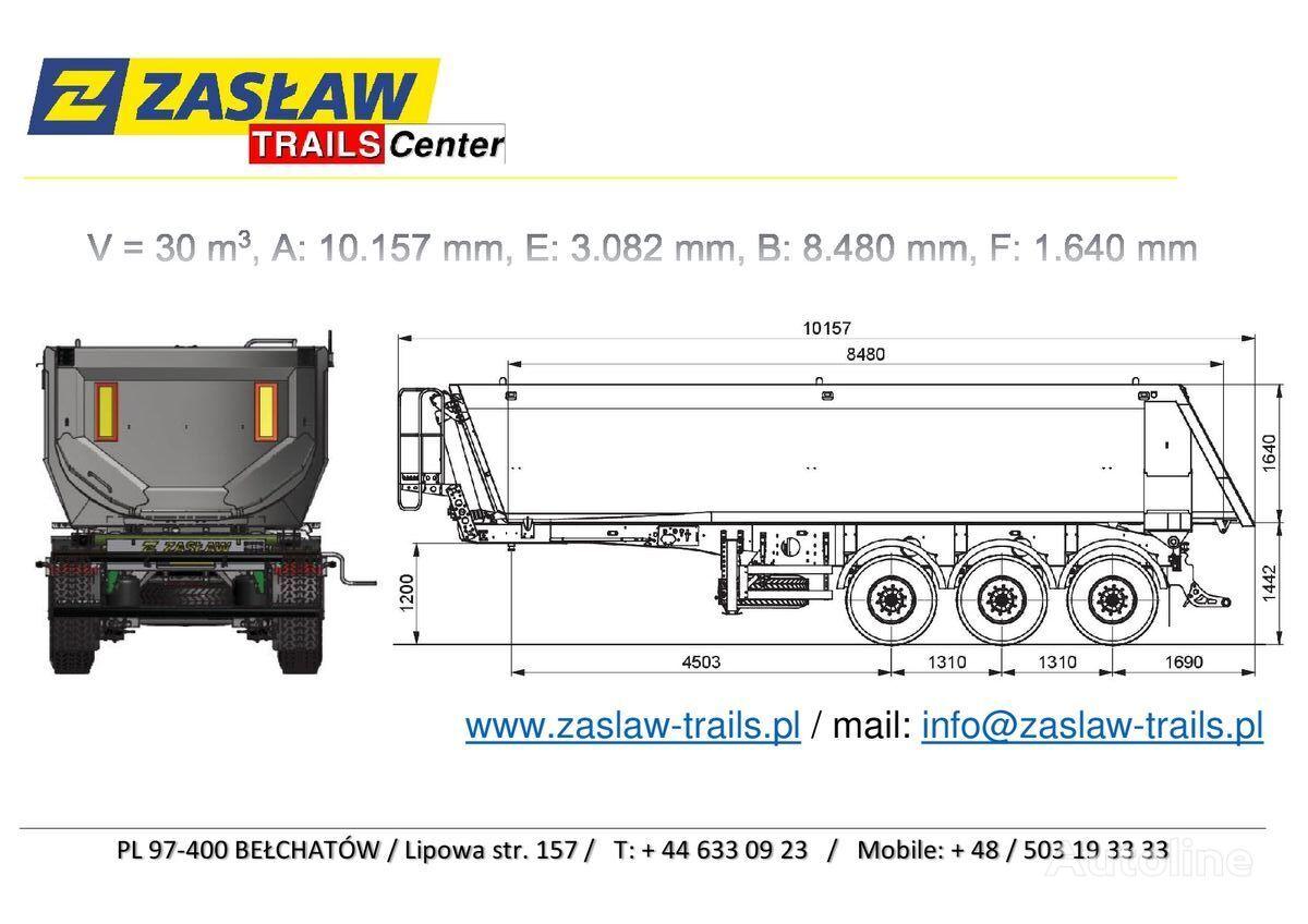 nový sklápěcí návěs ZASLAW TRAILIS 30 m³ naczepa wywrotka Half-Pipe - HARDOX 750 / Strong !!!