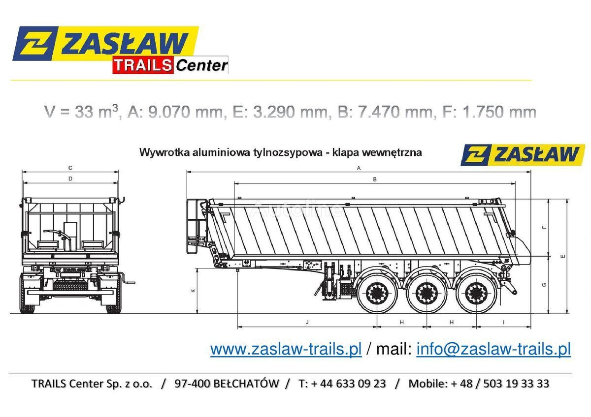 nový sklápěcí návěs ZASLAW TRAILIS 33 m³ naczepa wywrotka Super LeKKa od 5.150 kg z placu!