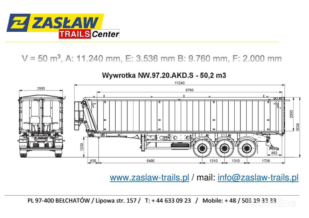 nový sklápěcí návěs ZASLAW TRAILIS 50 m³ naczepa wywrotka 5.990 kg Super Lekka !!!