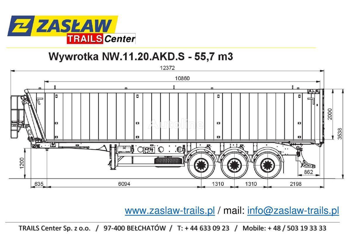 nový sklápěcí návěs ZASLAW TRAILIS 55 m³ naczepa wywrotka Light od 6.190 kg !!!